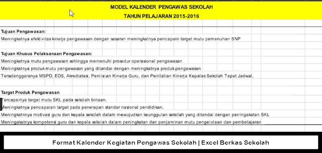 Format Kalender Kegiatan Pengawas Sekolah | Excel Berkas Sekolah