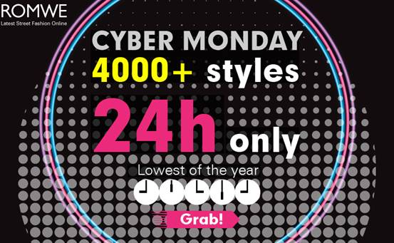 romwe cyber monday sale, 2nd december!