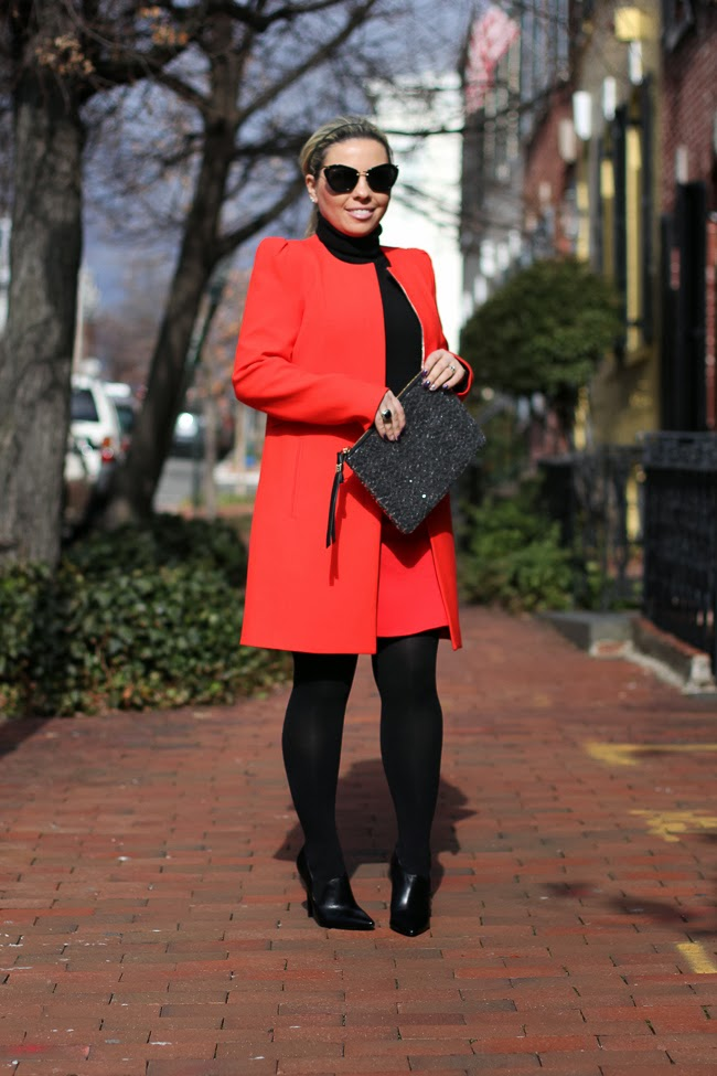 Red Skirt and Red Jacket Winter Outfit