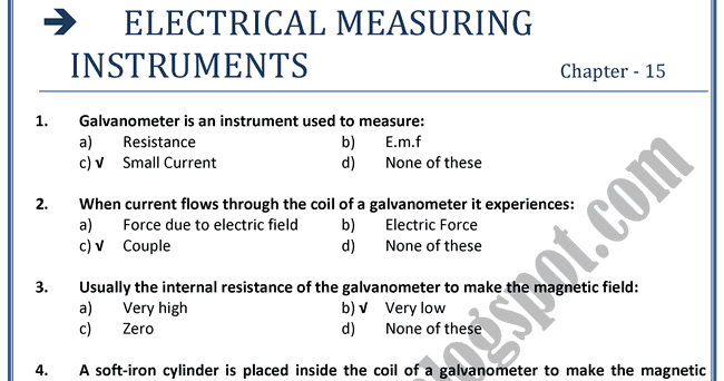 Electrical Measuring Instruments By Name : Adamjee coaching xii physics mcqs electrical measuring