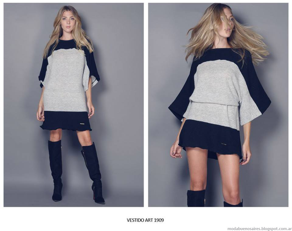 Vestidos de invierno 2015 tejidos. Moda invierno 2015.
