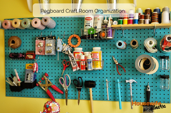 Pegboard craft room organization housewife eclectic for Craft room pegboard accessories