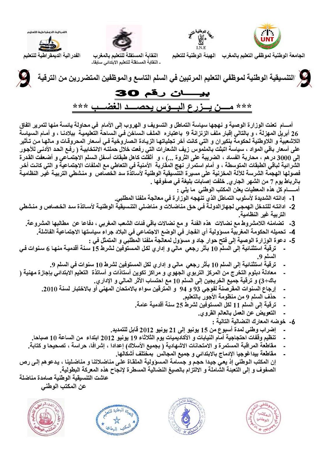 البيان رقم 30 للتنسيقية الوطنية لموظفي التعليم المرتبين في السلم Note1