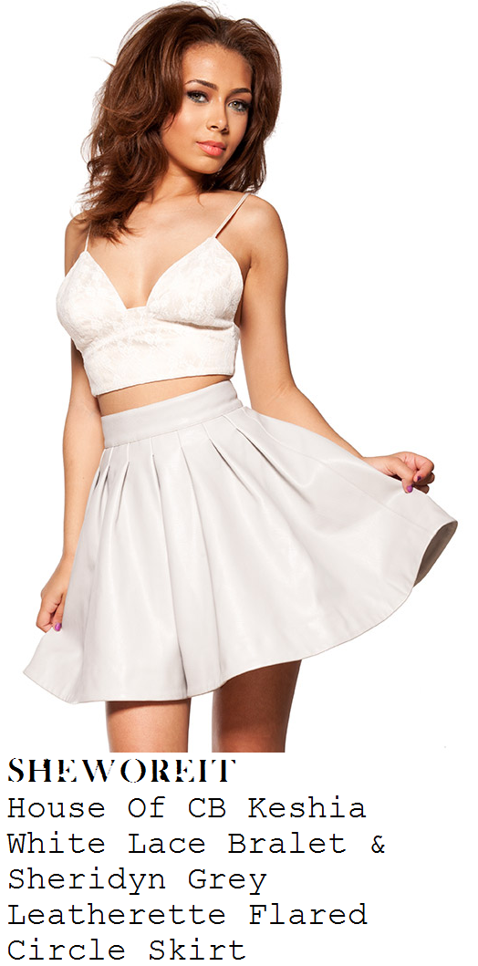 jessica-wright-white-lace-cami-strap-bralet-and-grey-full-pleated-faux-leather-skirt-ibiza