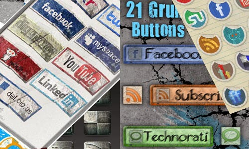 collection of grunge social media icons for web designers