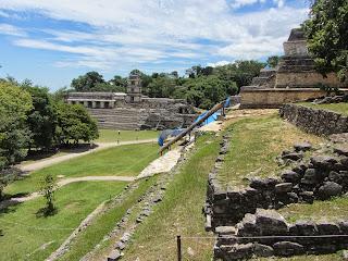 View of El Palacio at Palenque in Mexico