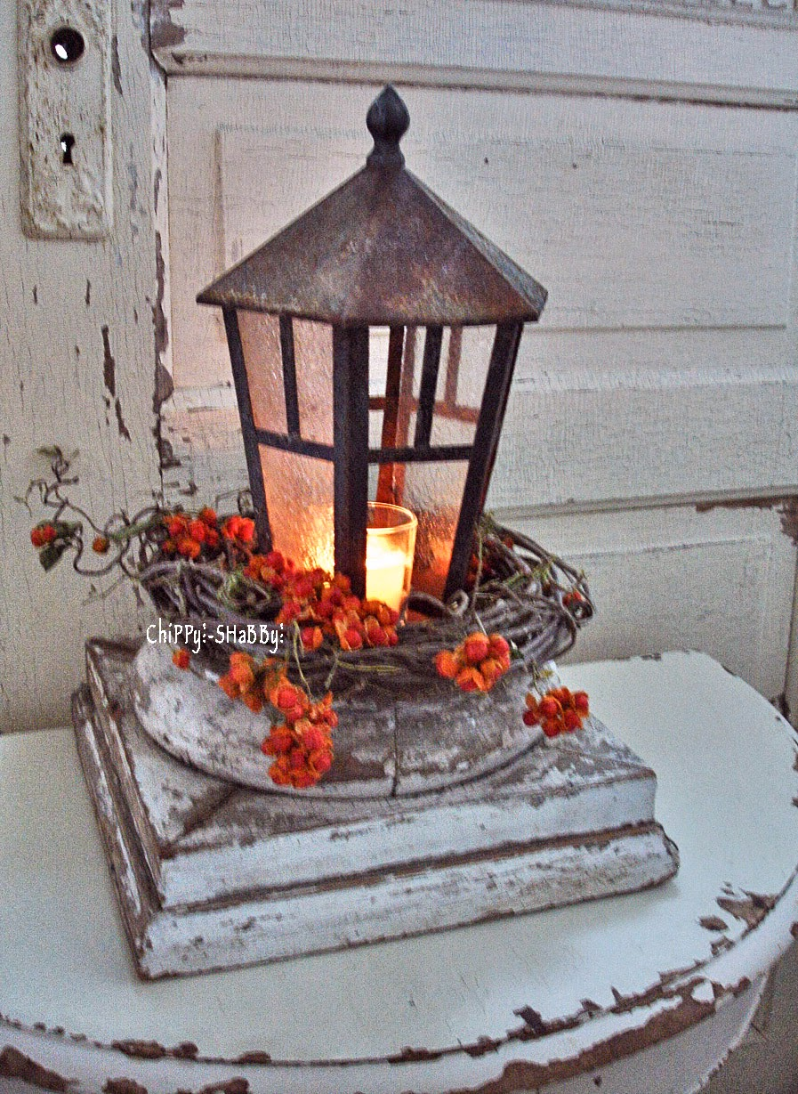 Chippy shabby re purposed vintage lantern centerpiece
