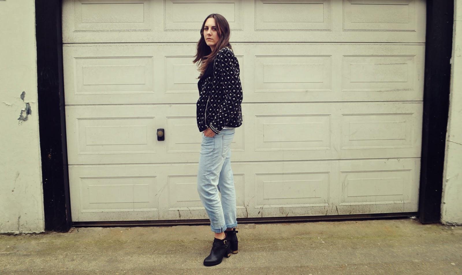 embellished blazer zara boyfriend jeans topshop