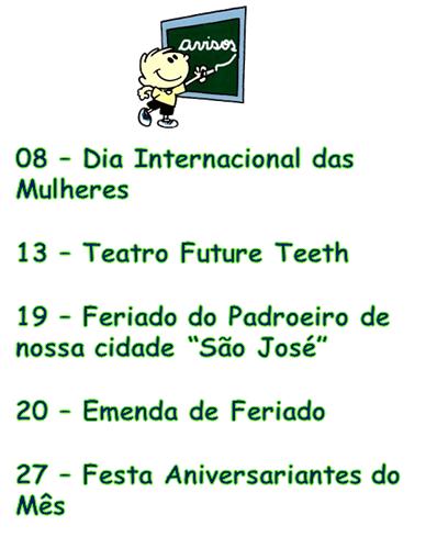 Cronograma de Março