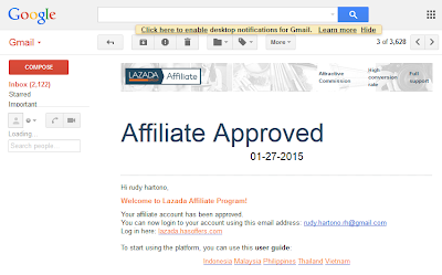 email affiliate lazada approved