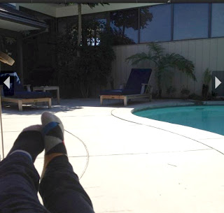 Greyson Chance Feet and socks by the pool