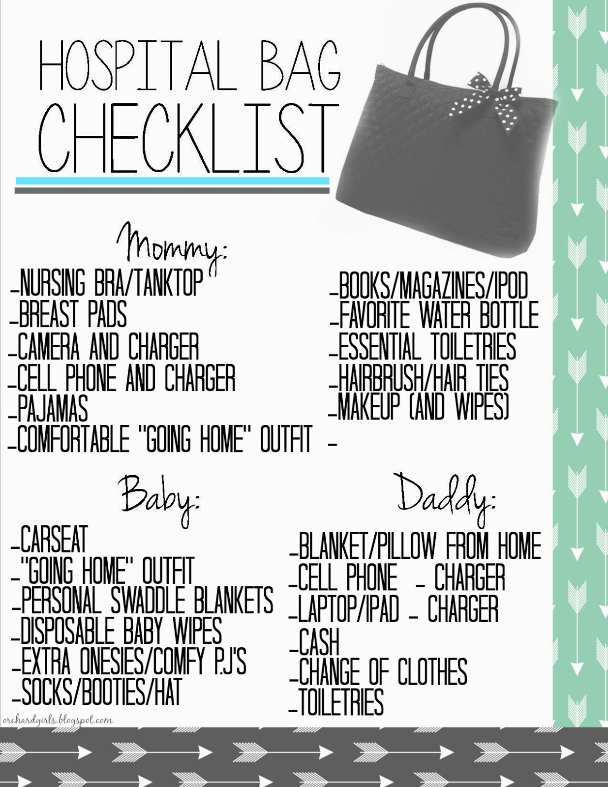 FREE Hospital Bag Checklist Printable #hospitalbag #pregnancy