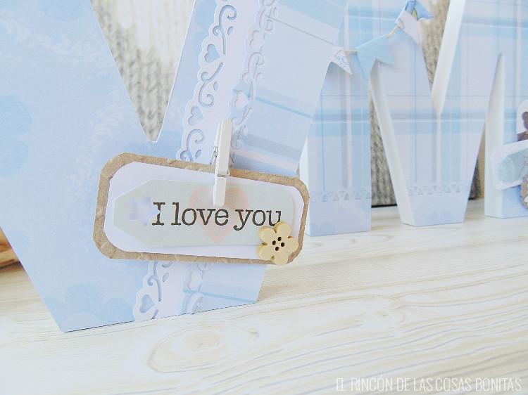 M s letras de madera decoradas el rinc n de las cosas bonitas - Letras decoradas scrap ...