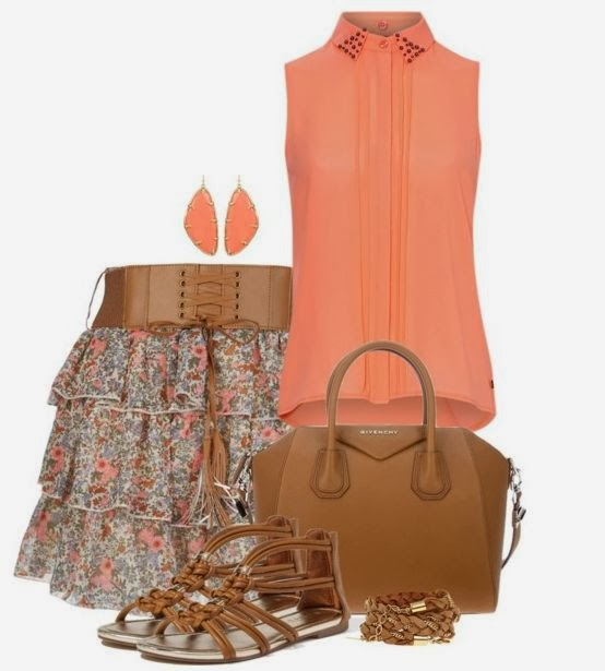 Orange dress, colourful skirt, hand bag and sandals for summer