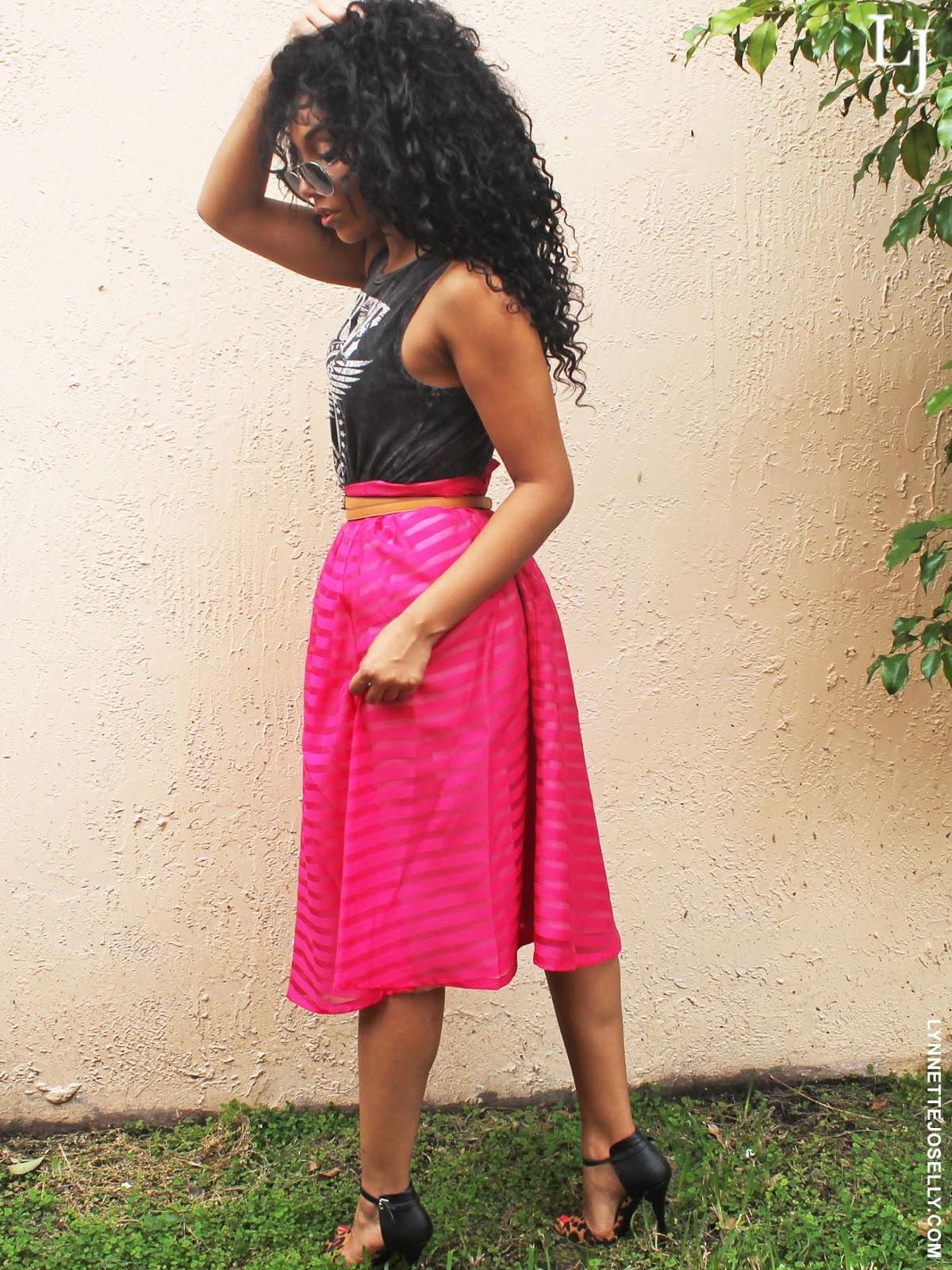 pink-tea-length-skirt-outfit