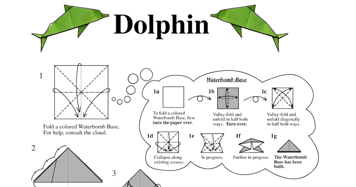 Origami Dolphin Instructions 3d For Kids
