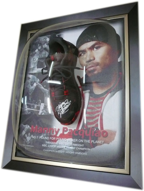 Manny Pacquiao, Signed Boxing Shoe framed with background design