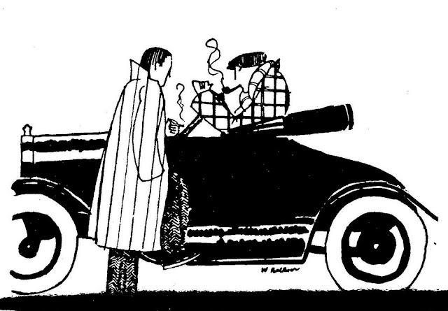 William Faulkner, Drawing of two men and automobile: The Scream May 1925 vol. I no 5 p. 15