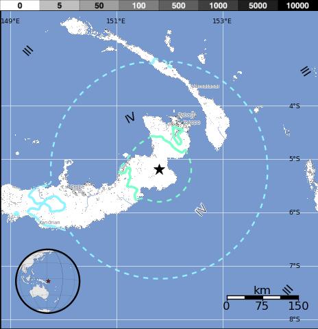 Epicentro sismo 7,1 grados Papúa Nueva Guinea 1 de Mayo 2015