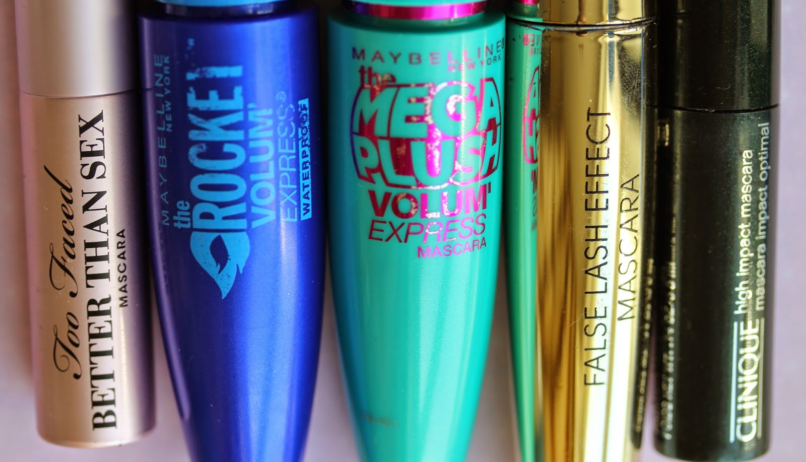 Favourite mascaras: Too Faced, Maybelline, Primark and Clinique