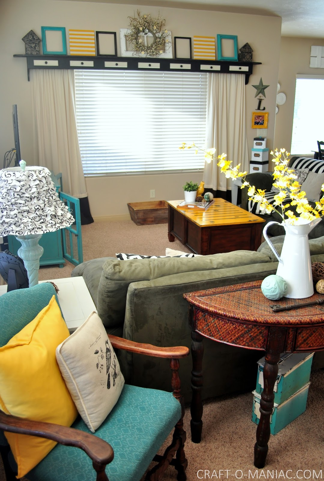 Home Decor~ My Turquoise And Yellow Family Room