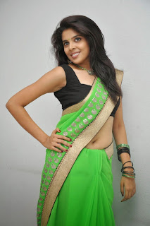 Sravya new actress from movie Love You Bangaram Sizzling Pics in Black Blouse and Half Green Saree