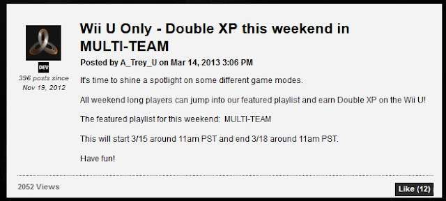 Image of Treyarch's announcement that 3/15 to 3/18 is a Double XP Weekend for the Wii U version of Black Ops 2