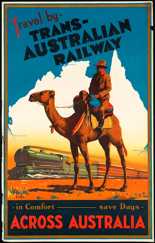classic posters, free download, free printable, graphic design, printables, retro prints, travel, travel posters, vintage, vintage posters, vintage printables, Travel by Trans Australian Railway Across Australia - Vintage Travel Poster