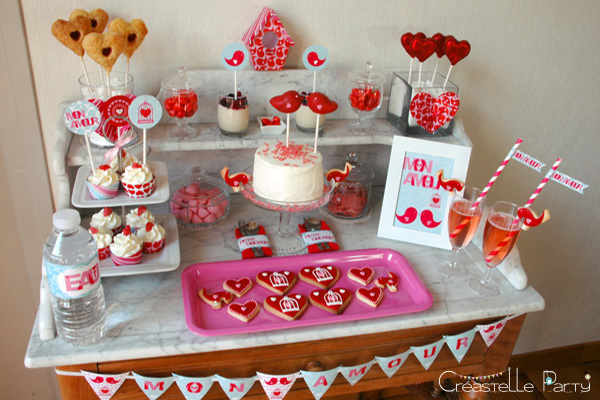 Valentine's day sweet table Saint-Valentin - Love Birds