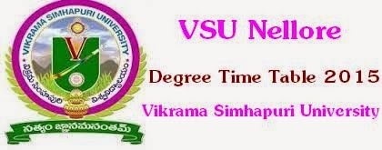 VSU-Vikrama Simhapuri University Degree Time Table 2015