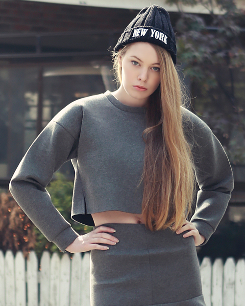 Long Sleeved T-shirt with Padded Shoulders