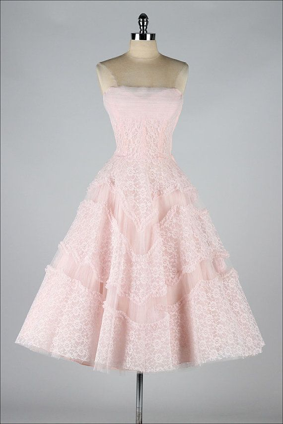 Vintage Pink Lace Dress