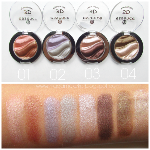 essence 3D eyeshadows swatches,  01 irresistible foxtrott, 02 irresistible lavender dream, 03 irresistible choco cupcake, 04 irresistible caramel cream
