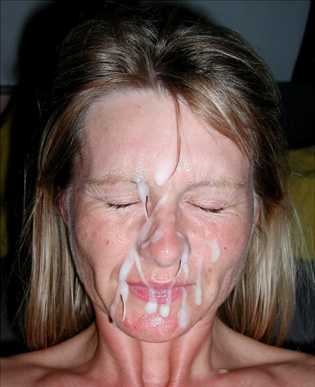 Mature cum covered face