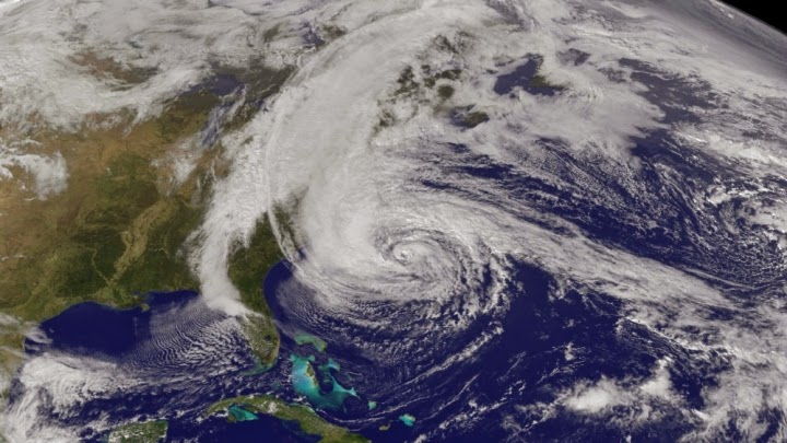 Hurricane Sandy as seen from a NOAA satellite. (Credit: NOAA) Click to Enlarge.