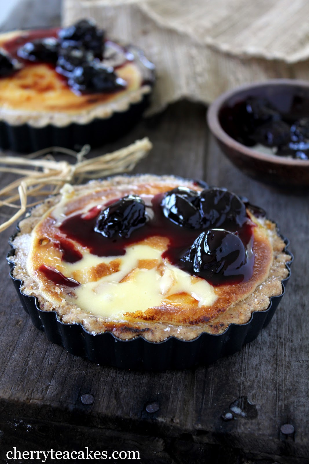 Cherry Tea Cakes: Lemon Mascarpone Brulee with Cherry Compote