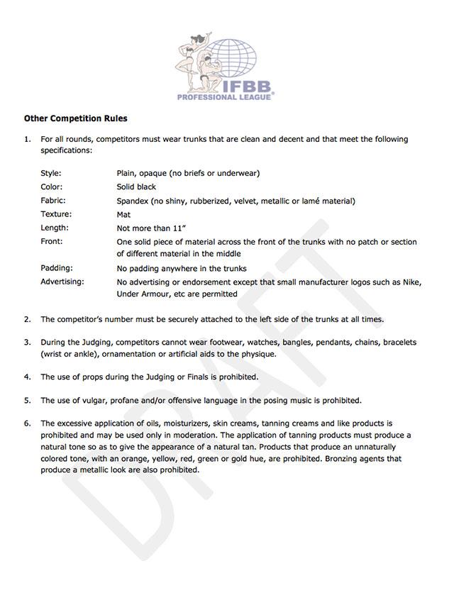 Outras regras de competição relacionadas à aparência dos competidores. Foto: Reprodução
