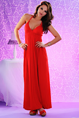 RED HALTER TIE SMOCKED WAIST MAXI DRESS