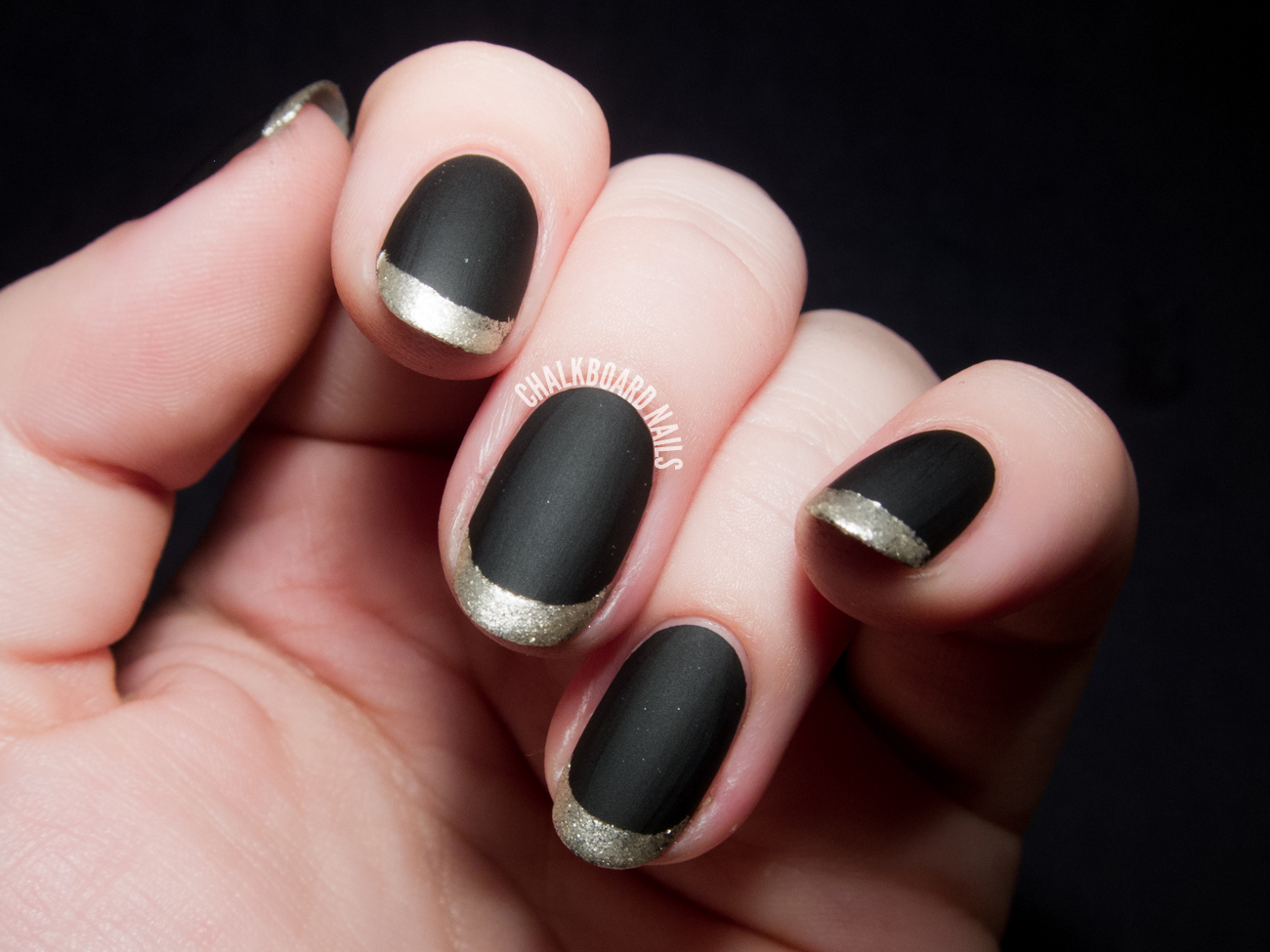 Matte metallic French tips by @chalkboardnails
