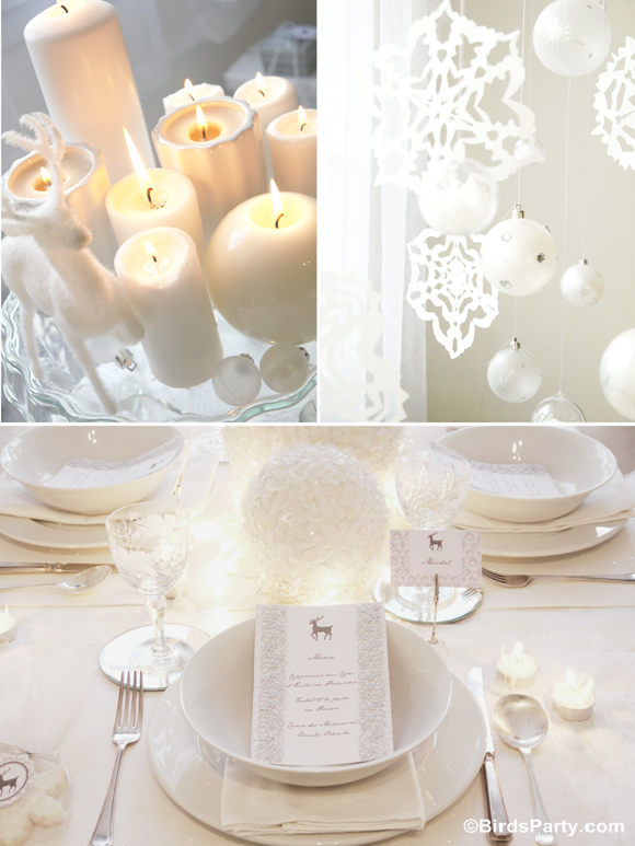 Christmas party ideas white winter wonderland dinner for All white party decoration ideas