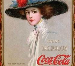 Propaganda de 1910 com a Garota Coca-Cola. Mulher formal aos padrões da época.
