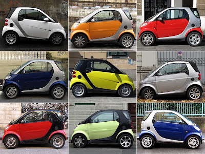 Nine Smarts in various colors, Livorno