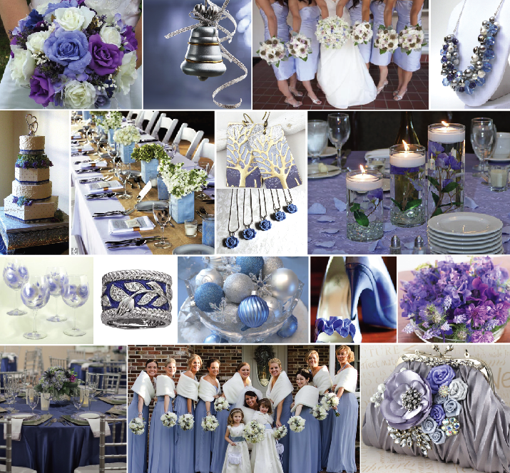 I Just Love The Wedding Party In Middle Of Last Row Inspiration Board Above Long Periwinkle Gowns And Warm White Shoulder Wraps