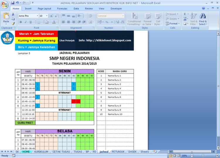 Aplikasi Jadwal Pelajaran Sekolah Anti Bentrok dengan Microsoft Excel Download Gratis