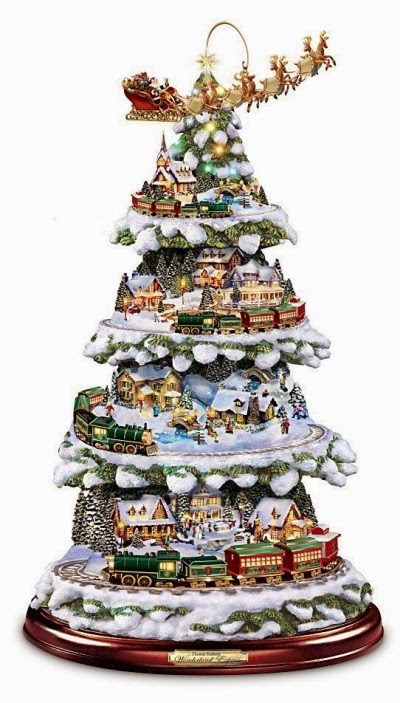 Thomas Kinkade Wonderland Express Animated Tabletop Christmas Tree With Train