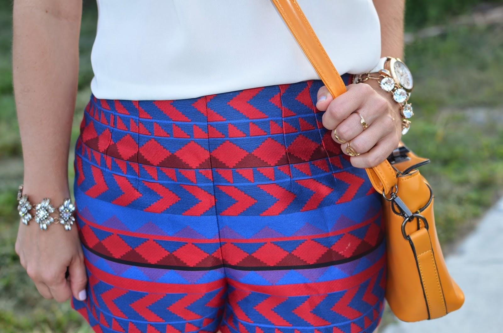 Abstract shorts - crochet collar - Emma & Sophia - Studded sandals