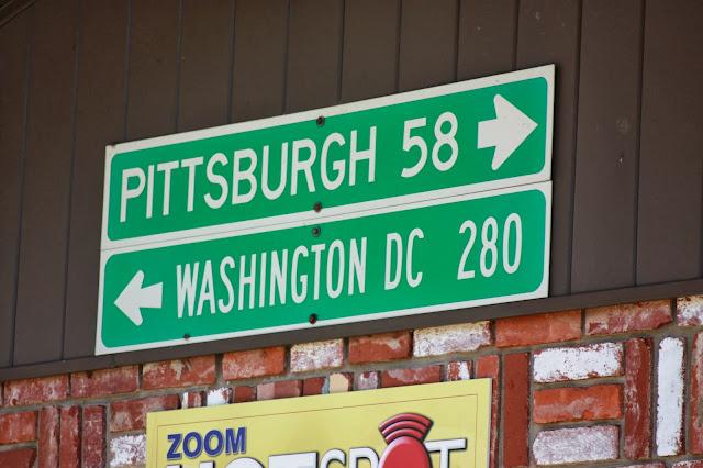 Sign to Pittsburgh and Washington DC