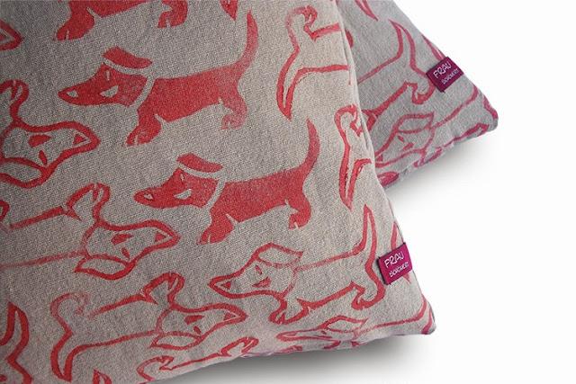 "hand printed cushion cover ""Basko"" by frauschoenert"