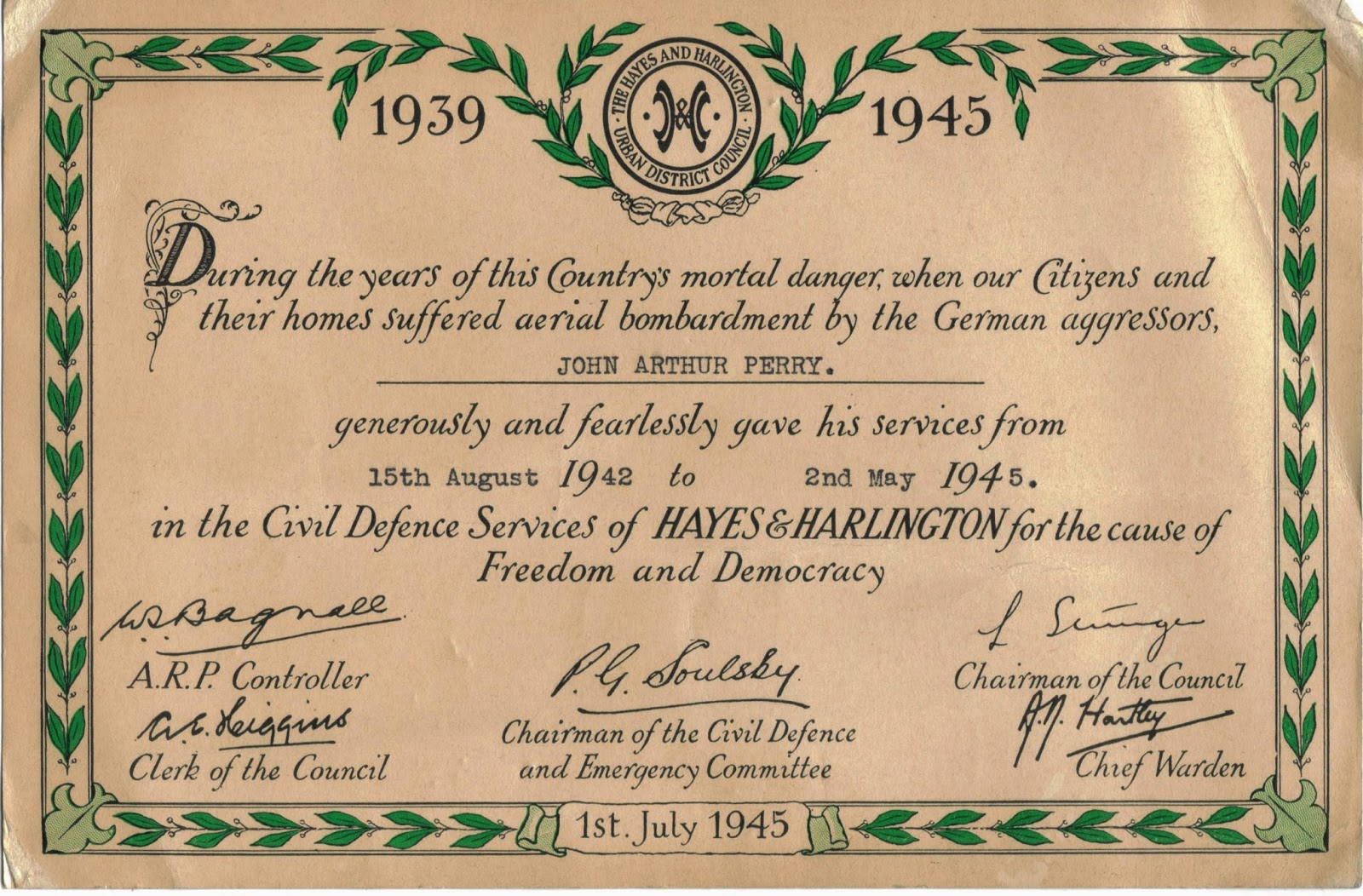 Civil Defence Certificate 1939-1945