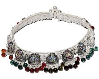 Silver Gemstone Ankle Bracelet